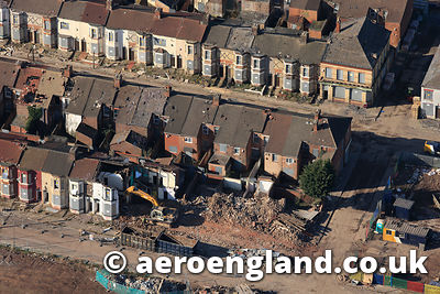 aerial photograph of the demolition of terraces houses as part of the Anfield clearances in Liverpool  UK
