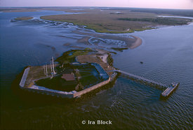 Aerials of fort Sumter at the entrance of Charleston Harbor