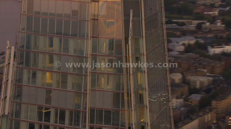 Aerial footage of The Shard at sunset, London