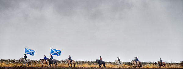 The Salrire being ridden on horseback from Athelstaneford to Haddington, East Lothian