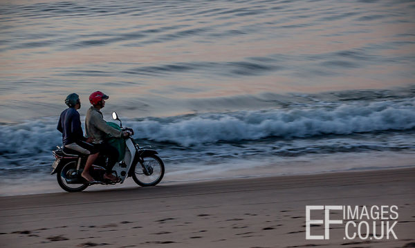 Moped Riding Along Mui Ne Beach