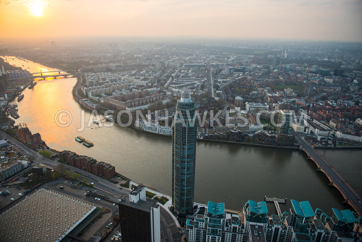 Aerial view of St George Wharf Tower at dusk, London
