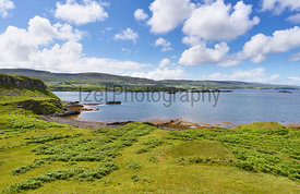 Views of Husabost and Colbost from Uiginish Point near Dunvegan on the Isle of Skye, Scotland, UK.