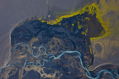 Aerial view of River Tungnaa flowing over wetlands, with melt water from the Vatnajojull glacier, Iceland
