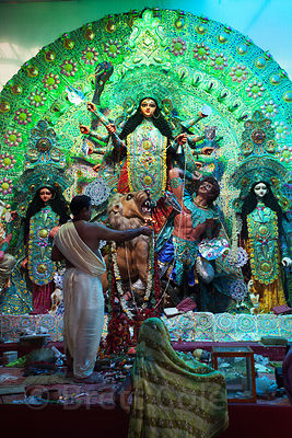 An intricate Durga Puja idol in Sovabazar, Kolkata, India.