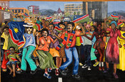 mural depicting the celebration of independence in 1990, Windhoek, Namibia