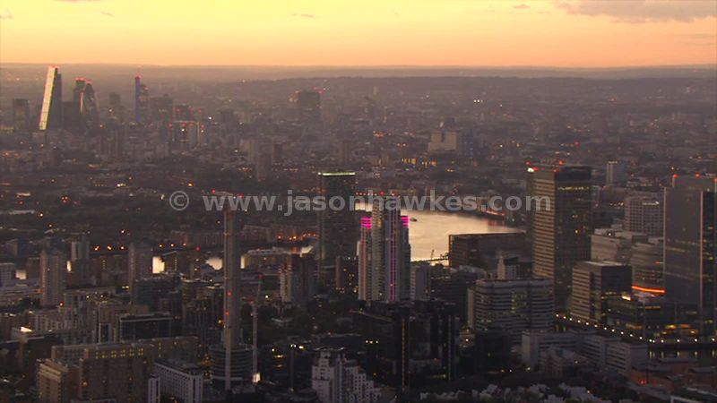 Aerial footage of Millwall at sunset, Isle of Dogs, London