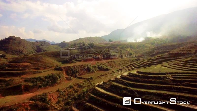 Man walking on Rice Terrace in Sapa Vietnam