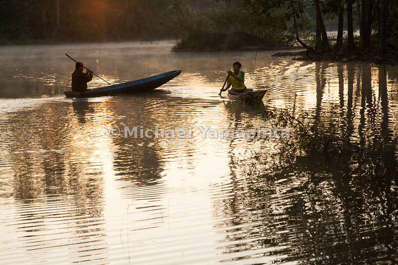 Home stay village. Pics of fishing at dawn on Nam Torn lake.