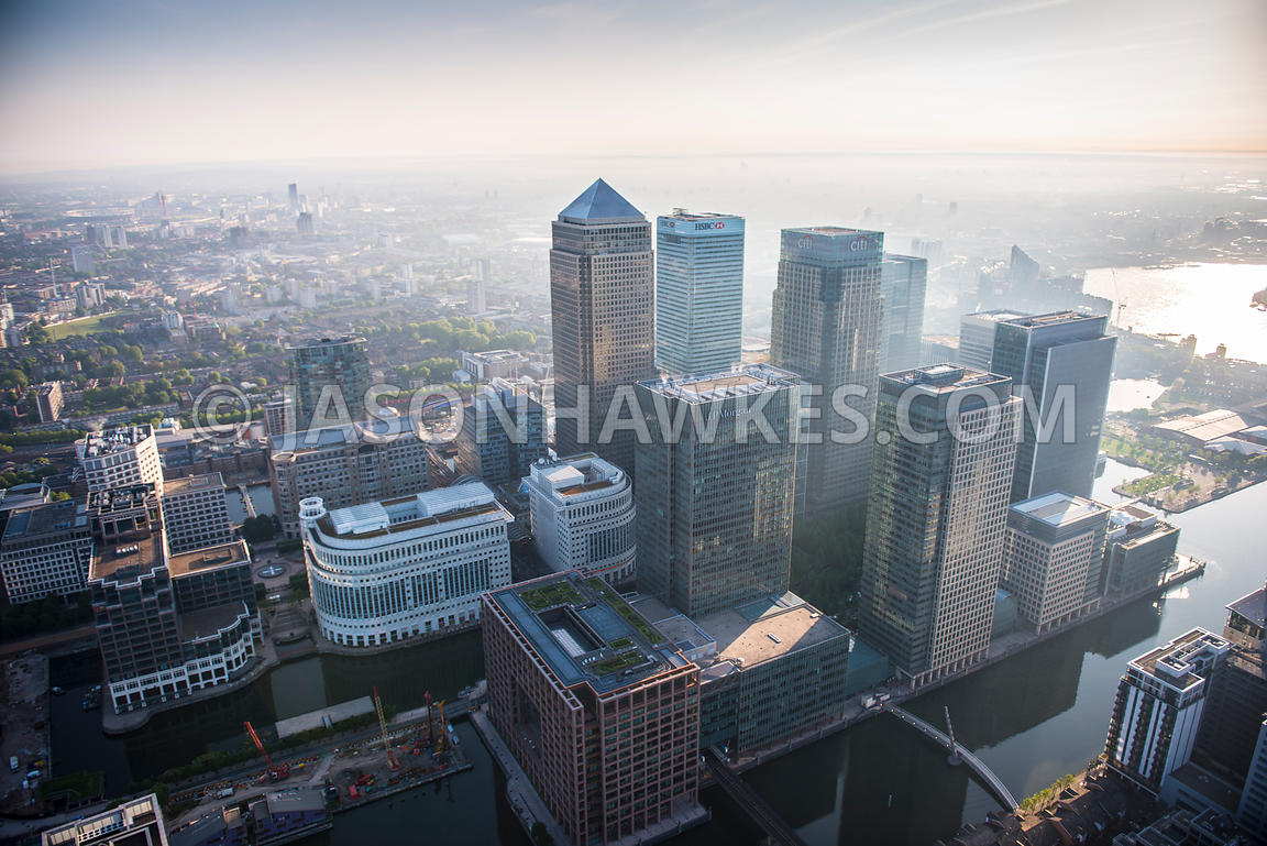 Dawn aerial view over Isle of Dogs, London.