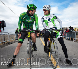 Antoine Duchesne (Europcar) and Conor O'Brien (Stevens) are called out before the start of Grand Prix Ste-Martine, April 27, ...