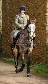 Caroline Harrison arriving at the meet. The Belvoir Hunt at Springfield Farm 23/2