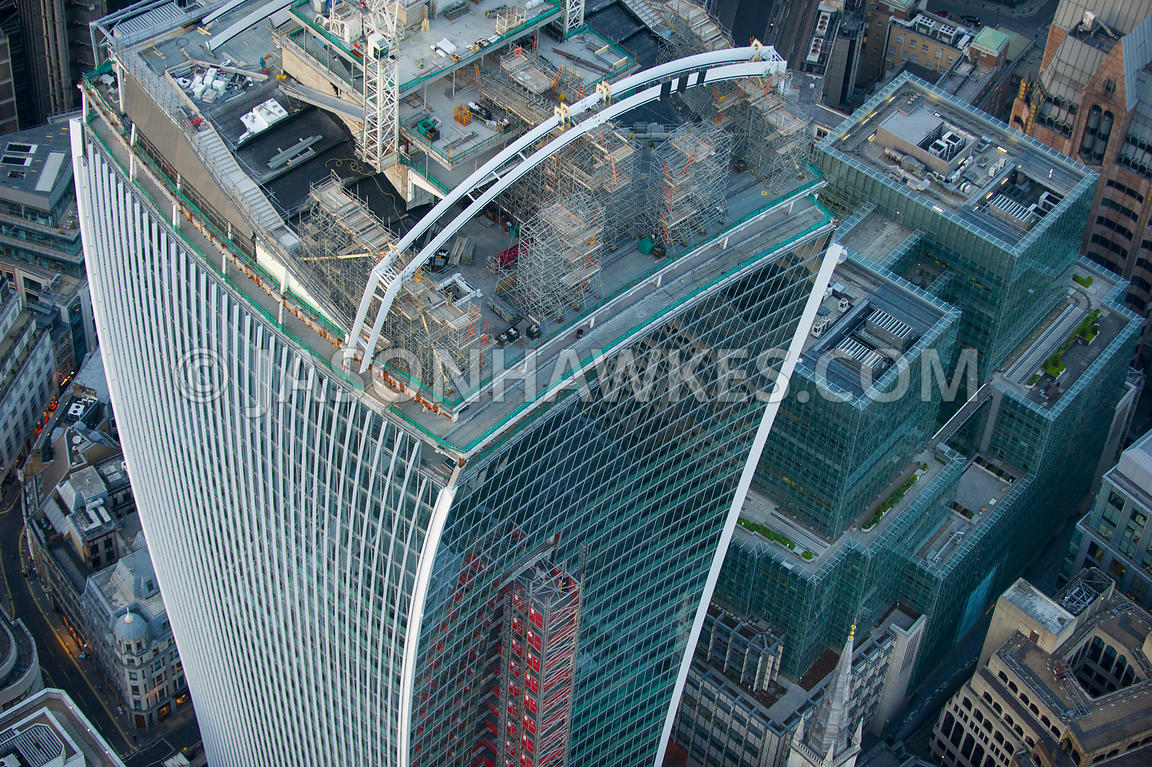 Aerial view of roof top of 20 Fenchurch St, City of London, London