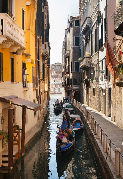 Italy, Venice, Gondolas in a small canal near St Mark's Square