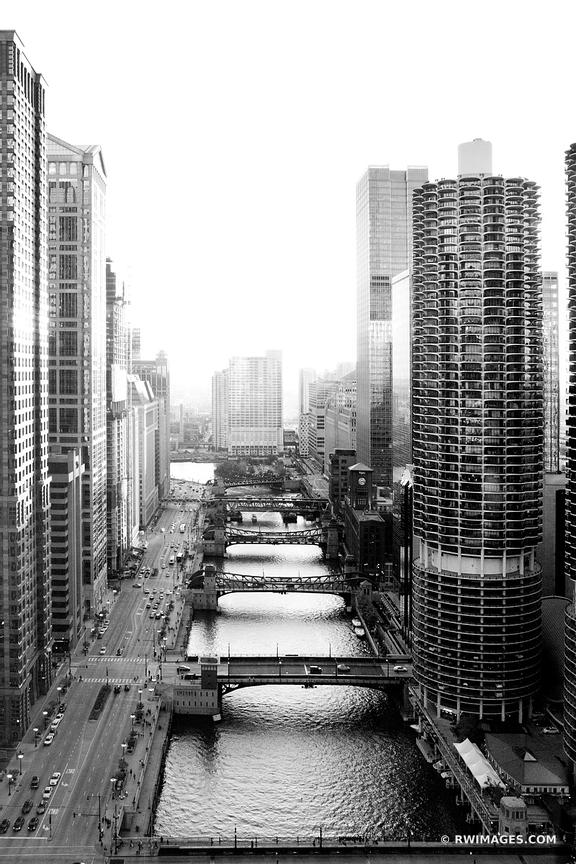 CHICAGO DONWTOWN RIVER BRIDGES MARINA CORN COB TOWER BLACK AND WHITE