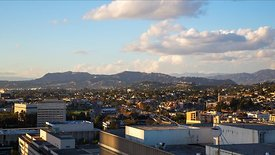 Wide Shot: Sunset Over Echo Park & Highway 101