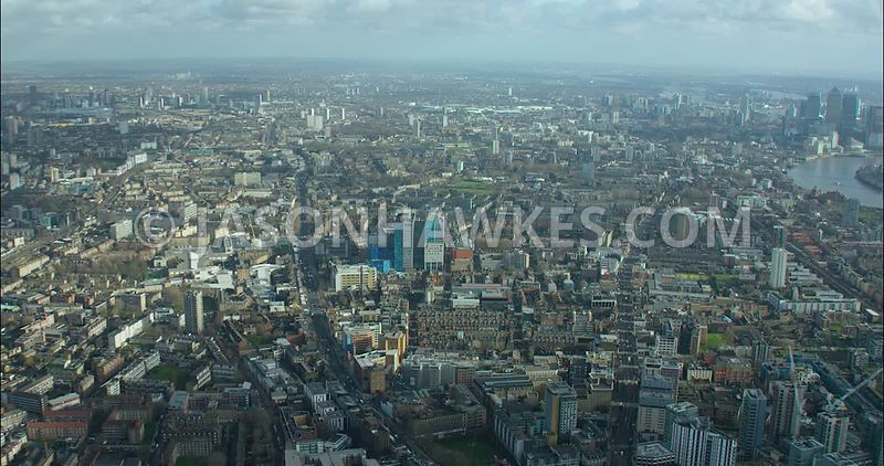 London Aerial footage, East London, Royal London Hospital with Whitechapel Road.