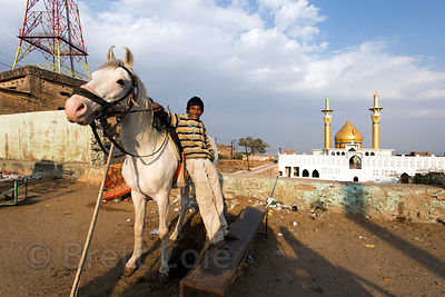 A boy and his horse at the beautiful mosque near Taragarh fort, Ajmer, Rajasthan, India. He charges tourists to sit on the ho...