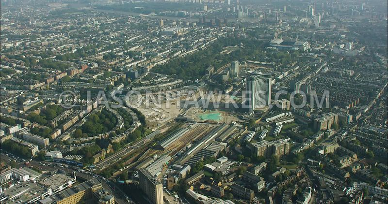 London Aerial Footage of Earls Court with Brompton Cemetery