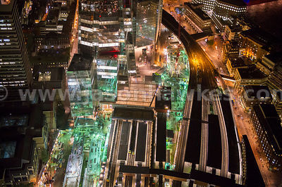 Aerial view of construction at London Bridge Station at night, London