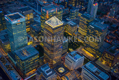 Canary Wharf lit up at night