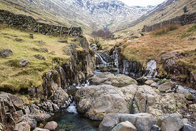 Looking up Grains Gill from Stockley Bridge in Seathwaite in the Lake District.