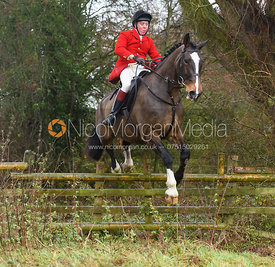 Tom Kingston jumping a hunt jump in Holwell. The Belvoir Hunt at Hill Top Farm 1/12