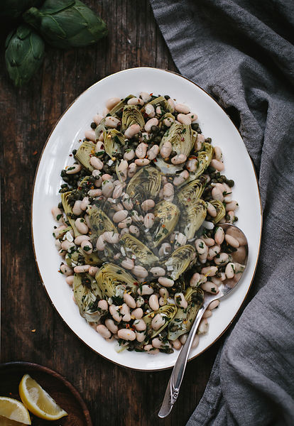 Braised Baby Artichoke Salad with White Beans