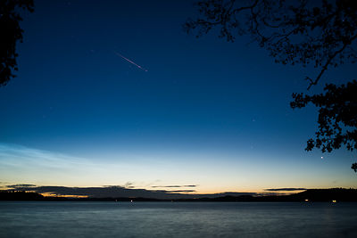 Sporadic meteor above lake Vesijärvi in southern Finland on August 14 2017.