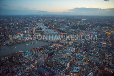 Aerial view of London, River Thames at Temple and St Clement Danes.