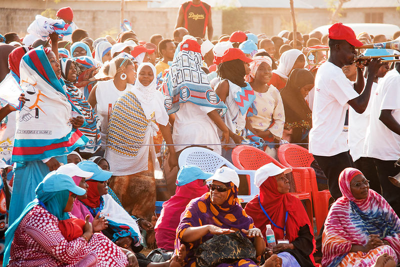 Civic United Front (CUF) supporters at a rally just outside of the capital Stone Town, September, 2010. CUF was formed on 28 ...