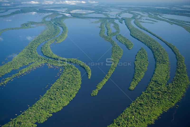 Aerial view of Anavilhanas Archipelago, Flooded forest, Rio Negro, Amazonia, Brazil, July 2008