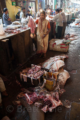 Rays being processed at the fish market, Newmarket, Kolkata, India.