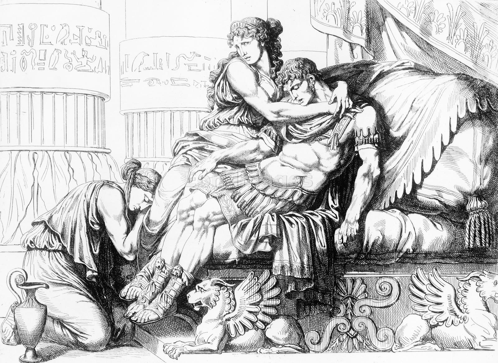 Cleopatra holds body of Marc Antony following his suicide