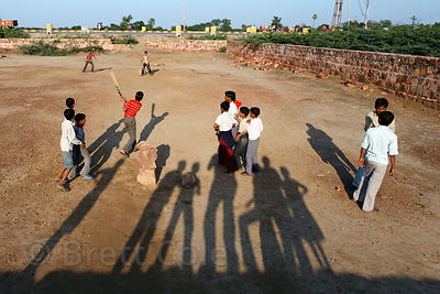 Children play cricket in Bharatpur, Rajasthan, India
