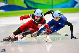 Feb 26, 2010: Pacific Coliseum, Vancouver, BC. Charles Hamelin of Canada wins the Gold Medal in the Mens 500m sprint event in the Short Track Speed Skating at the Vancouver 2010 Winter Olympics. Photo by Scott Brammer/coastphoto.com