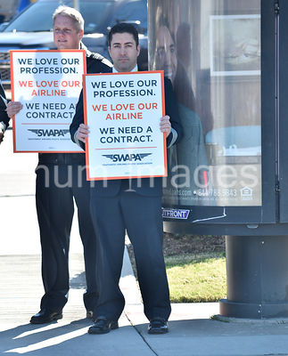 Southwest Airlines Pilots  upset over having no contract protest outside Love Field in Dallas, TX, USA (Brian Humek February ...