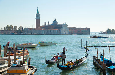 Italy, Venice, Gondolas in Grand Canal at St Mark's Square