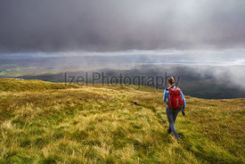 A hiker and their dog descending Macleod's Table (North) towards Glen Osdale on the Isle of Skye, Scotland.