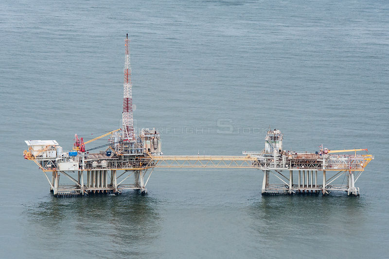 Aerial view of oil rig drilling platform,  Louisiana, Gulf of Mexico, USA 2010