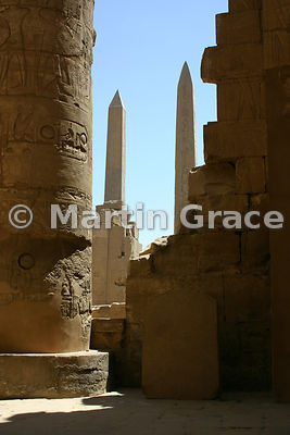 Karnak Temple of Amun - Obelisks of Tuthmosis I and Hatshepsut from Great Hypostyle Hall