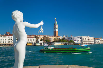Italy, Venice, Statue Boy with Frog by Charles Ray
