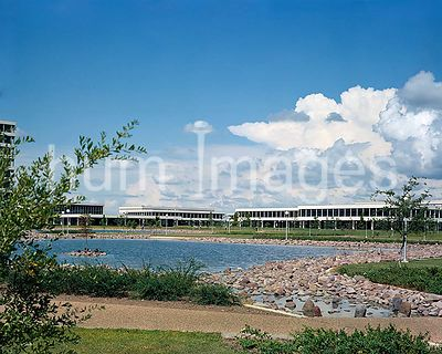 1965- View of facilities at the Manned Spacecraft Center, Houston, Texas. Photo is taken from across the fish pond. The Manne...