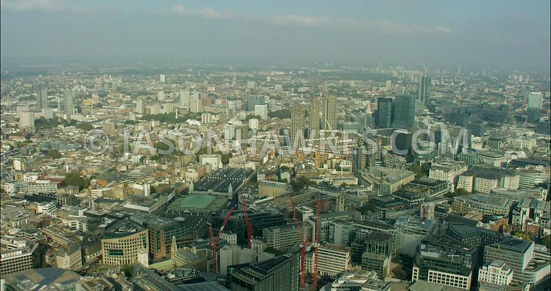 London Aerial Footage of Smithfield Market to St Paul's Cathedral.