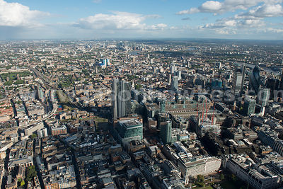 Aerial view of Shoreditch and the City, London