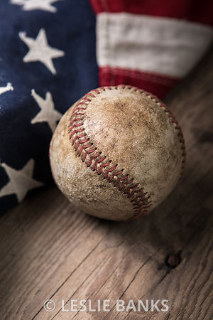 Vintage Baseball and Flag