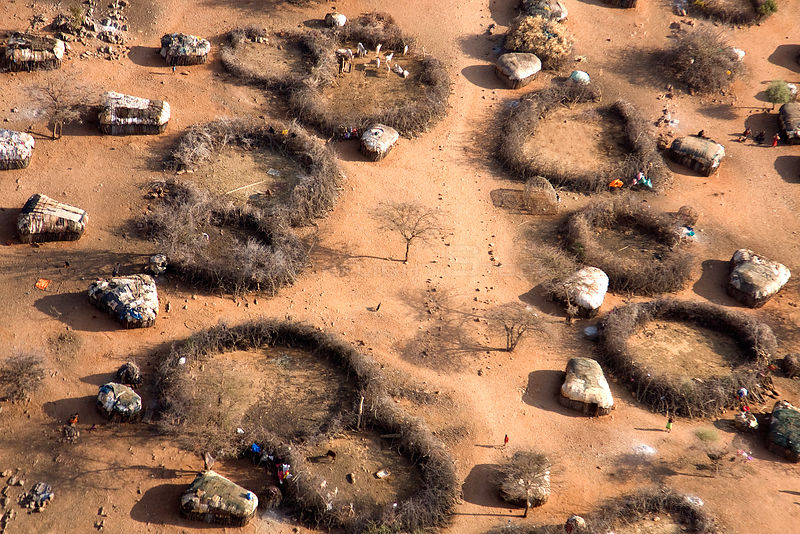 Samburu manyatta as seen from the air illustrates the parched conditions in northern Kenya. The worst drought (2008-2009) in ...