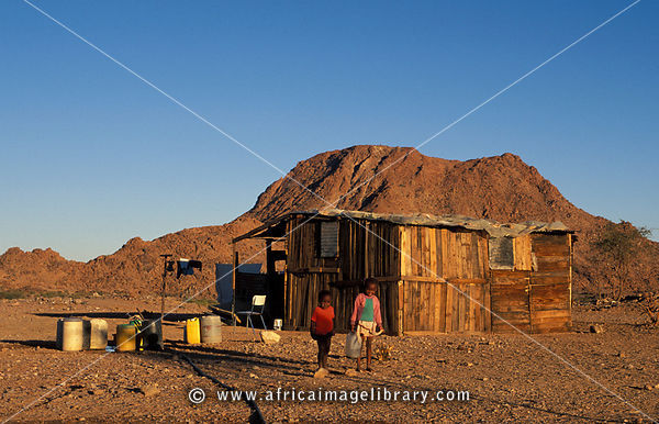 Shacks of resettled Nama people who returned after the apartheid era, Riemvasmaak, South Africa