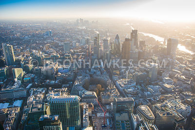 Aerial view of City of London, London Wall towards Bishopsgate with Angel Court Tower and 20 Fenchurch Street.