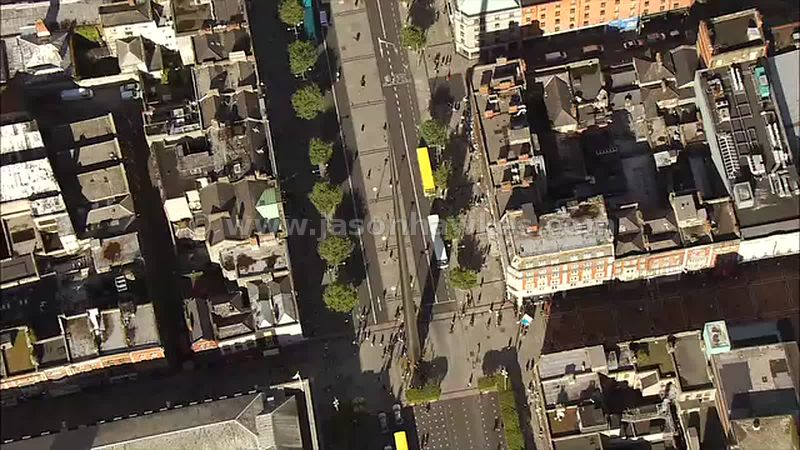 Aerial footage of The Spire, Dublin, Ireland